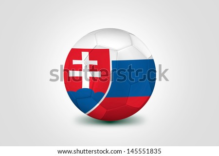 Soccer ball with Slovakia flag isolated on white