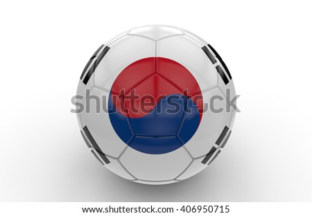 Soccer ball with South Korea flag isolated on white background; 3d rendering - stock photo