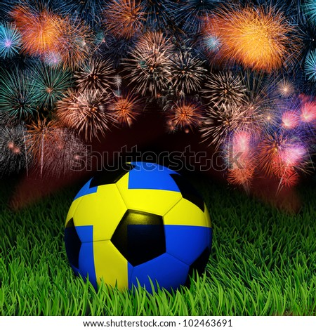 Soccer ball with Sweden flag pattern on the grass, fireworks celebration - stock photo