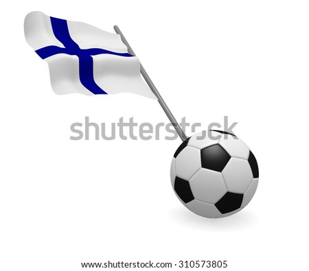 Soccer ball with the flag of Finland on a white background - stock photo