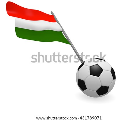 Soccer ball with the flag of Hungary on a white background - stock photo