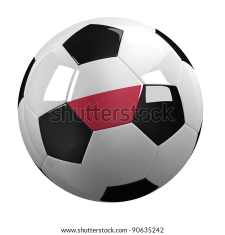Soccer Ball with the flag of Poland on it - highly detailed clipping path included