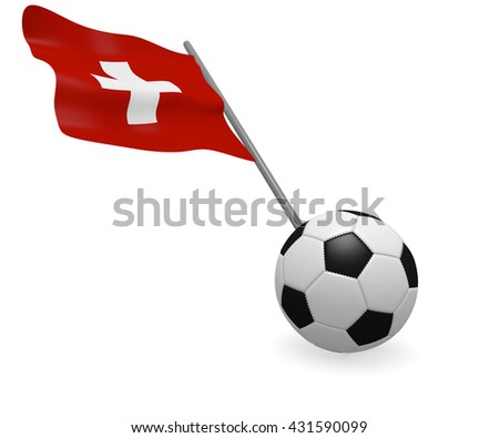 Soccer ball with the flag of Switzerland on a white background - stock photo