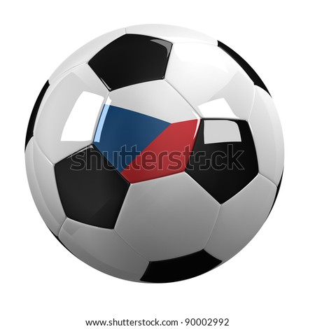 Soccer Ball with the flag of the Czech Republic on it - highly detailed clipping path included