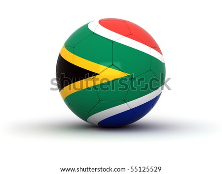 Soccer ball with the south African flag - stock photo