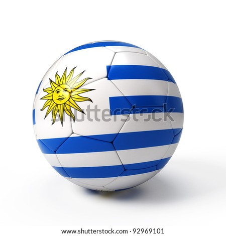Soccer ball with Uruguayan flag isolated on white