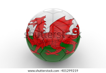 Soccer ball with welsh flag isolated on white background: 3d rendering - stock photo