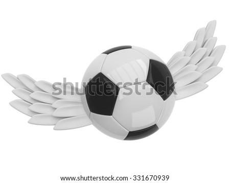 Soccer ball with wings  - stock photo
