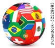 Soccer ball with world flags - stock vector