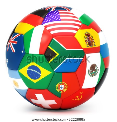Soccer ball with world flags - stock photo