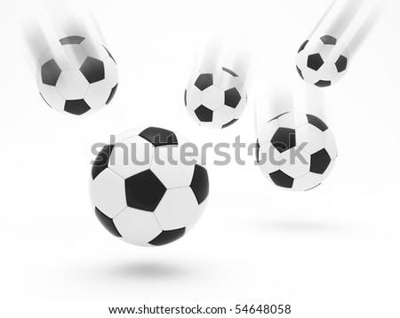 Soccer balls in motion blur - stock photo