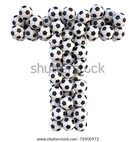 soccer balls in the form of letters. isolated on white. with clipping path. - stock photo