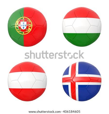 Soccer balls of  Portugal, Hungary, Austria, Iceland. 3d illustration - stock photo