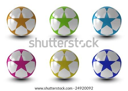 Soccer balls on white background - stock photo