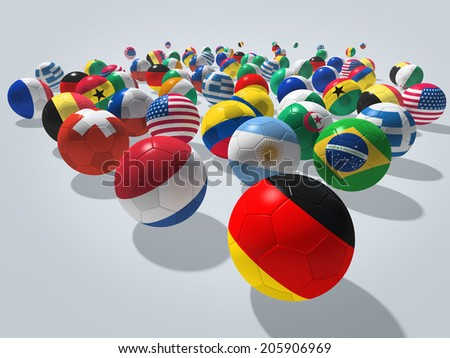 Soccer balls with flags of national teams. Image contain clipping path.