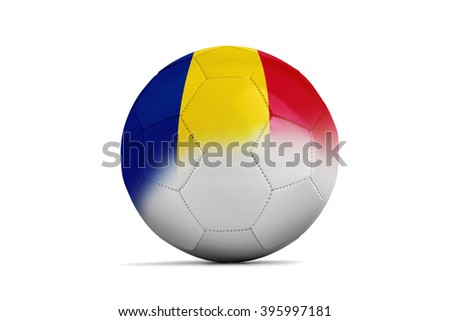 Soccer balls with team flags, Football Euro 2016. Group A, Romania- clipping path - stock photo