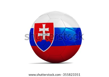 Soccer balls with team flags, Football Euro 2016. Group B, slovakia - clipping path