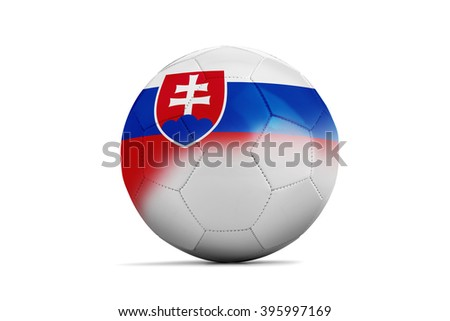 Soccer balls with team flags, Football Euro 2016. Group B, Slovakia- clipping path - stock photo