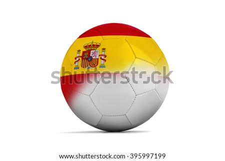 Soccer balls with team flags, Football Euro 2016. Group D, Spain- clipping path - stock photo
