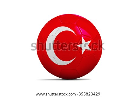 Soccer balls with team flags, Football Euro 2016. Group D, Turkey- clipping path - stock photo