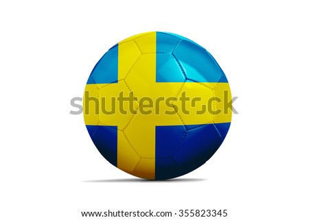 Soccer balls with team flags, Football Euro 2016. Group E, Republic of Sweden- clipping path - stock photo