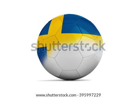 Soccer balls with team flags, Football Euro 2016. Group E, Sweden- clipping path - stock photo
