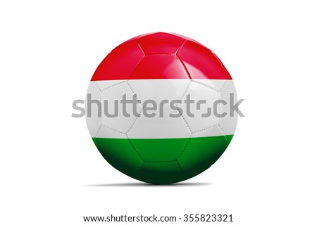 Soccer balls with team flags, Football Euro 2016. Group F, Hungary - clipping path - stock photo