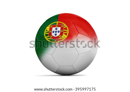 Soccer balls with team flags, Football Euro 2016. Group F, Portugal- clipping path