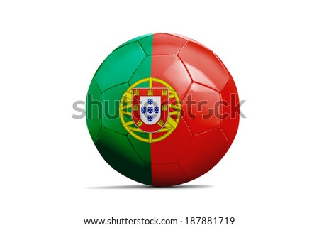 Soccer balls with teams flags, Football Brazil 2014. Group G, Portugal