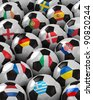 Soccer Balls with the flag of all participating national teams of the 2012 European Championship - stock photo