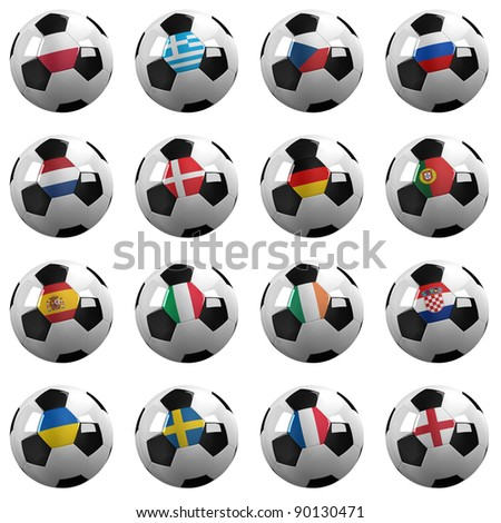 Soccer Balls with the flag of all participating national teams on them - clipping path included for each group and nationality - stock photo
