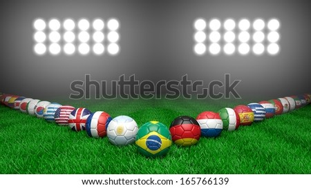 Soccer balls with various countries flags on grass - stock photo