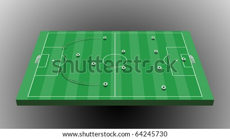 soccer board tactic with gray background