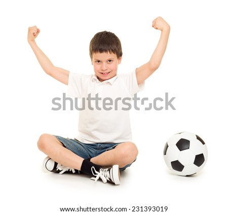 soccer boy with ball studio isolated  - stock photo