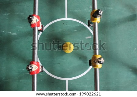 Soccer Brazil shirts Table top Foosball football in team colours  - stock photo