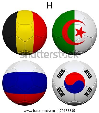 Soccer Championship 2014. Brazil. Group H. Belgium, Algeria, Russia, South Korea. 3d soccer ball design. - stock photo