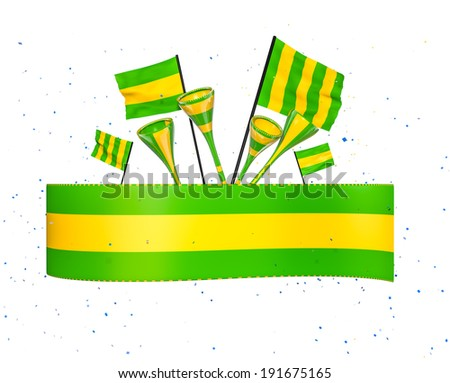 Soccer cheer elements in green and yellow - stock photo