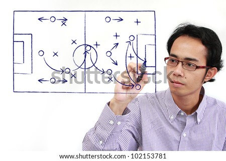 soccer coach drawing strategy plan on a whiteboard. creativity concept - stock photo