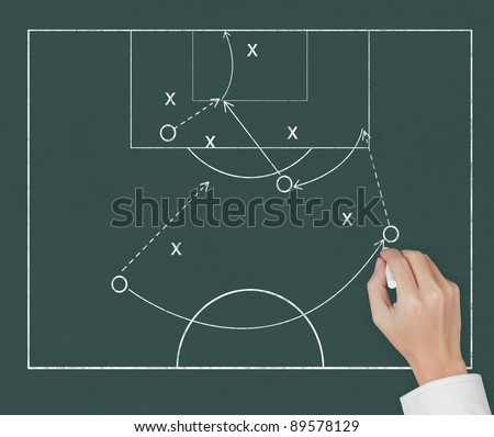 soccer coach hand drawing strategy plan on chalkboard - stock photo