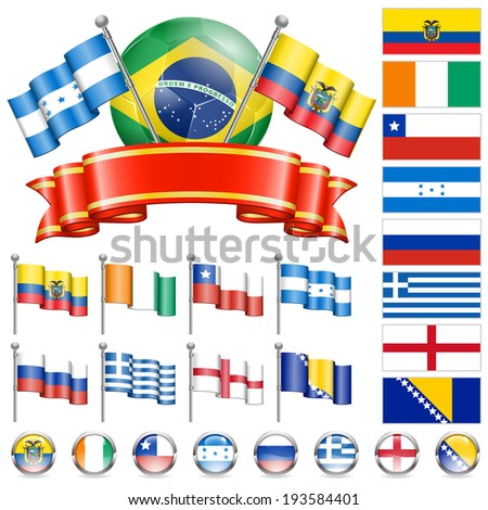 Soccer Collect with Brazil Flags, Ball, Ribbon and Flags, isolated . Part 3 of 4. - stock photo