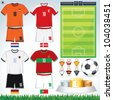 Soccer Collection.  Netherlands, Danish, Germany, Portuguese Teams clip art. - stock vector