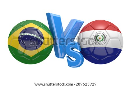 Soccer competition, national teams Brazil vs Paraguay - stock photo