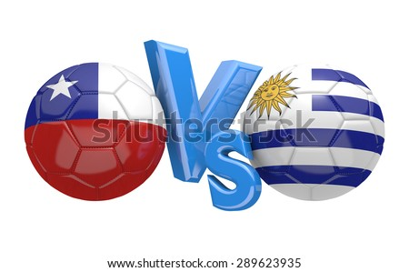 Soccer competition, national teams Chile vs Uruguay - stock photo