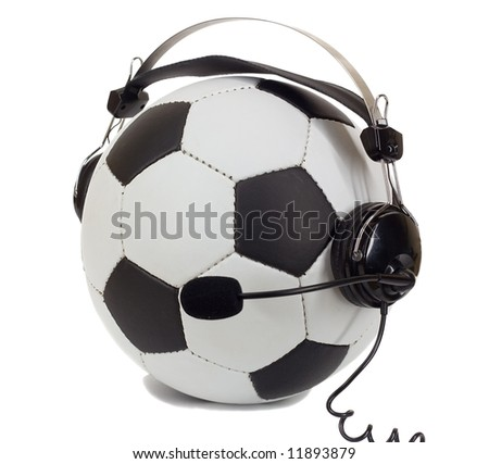 soccer concept, ball in headphones, as commentator