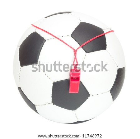 soccer concept, classic ball with referee's whistle, isolated on white