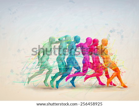 soccer concept, colorful people hitting the ball - stock photo