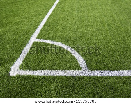 Soccer Corner Marking Lines Close Up