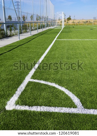Soccer corner marking lines with net goal - stock photo
