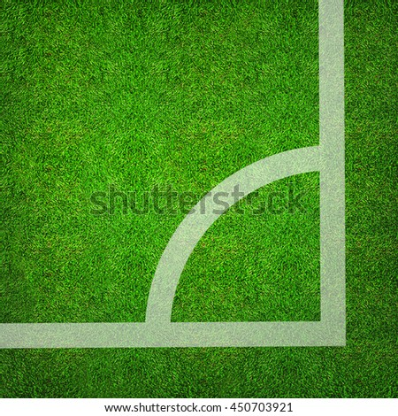 Soccer corner on green grass of soccer field pattern background and texture. Soccer ball 3D illustration. - stock photo
