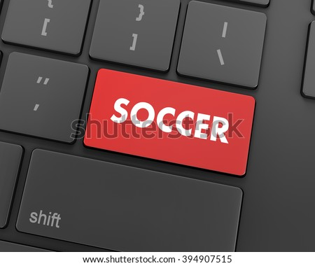 Soccer 3d button isolated on white